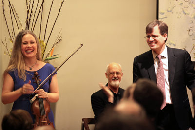 Leila , Charles (Charlie) Hamlen and John Novacek enjoy the applause of the audience. Charlie graciously agreed to turn pages for John just before the start of the concert.
